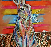 Hare in Poppy Field by Emily  Garces