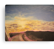 Sunset from a car window Canvas Print