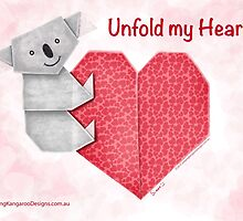 Unfold My Heart! Cuddly Koala and Heart Origami by JumpingKangaroo