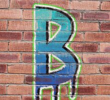 Graffiti Printed Letter B on wall by Jack Hickling