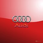 Audi 3D Badge-Logo on Red by Captain7