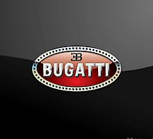 Bugatti 3D Badge-Logo on Black by Captain7