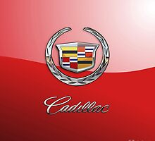 Cadillac 3D Badge-Logo on Red by Captain7