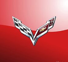 Chevrolet Corvette 3D Badge-Logo on Red by Captain7