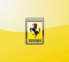 Ferrari 3D Badge-Logo on Yellow by Captain7