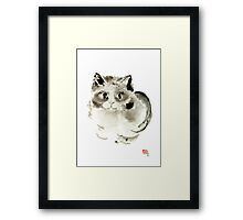 Cat Cats Kitten Funny Meow animal pet ink painting Framed Print