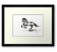 Horse stallion black wild animal 2014 year ink painting Framed Print