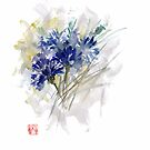 Cornflower Cornflowers Blue Yellow Green watercolor painting by Mariusz Szmerdt