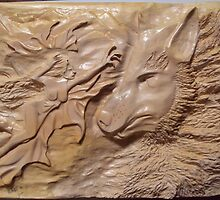 Wood carving work (wolf fairy) by tondias