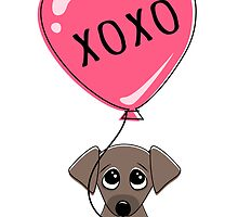 Cute puppy dog holding heart balloon with text XOXO hugs and kisses Valentine's day card by MheaDesign
