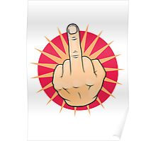 Vintage Pop Art Middle Finger Up Gesture. Poster