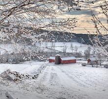 New England Winter Farms  by Bill Wakeley