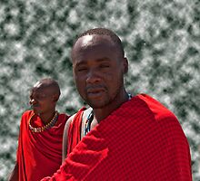 Masai Men With Red Shukas by phil decocco