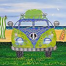 Kombie Campers (Blue) by Lisa Frances Judd ~ QuirkyHappyArt