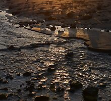 Rocks In Stream At Sunset by Adrian Wale
