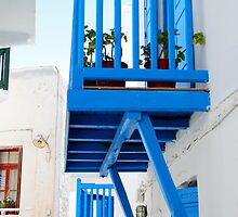 A Blue Balcony, Mykonos by Carole-Anne