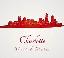 Charlotte skyline in red by paulrommer