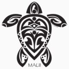 Black Tribal Turtle Tattoo / Maui by Susan R. Wacker