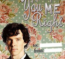 Sherlock Themed Valentine's Cards-You keep me right by thescudders