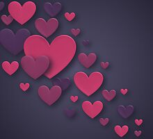 Pink and Purple Three Dimensional Cascading Hearts by RumourHasIt