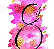 Number 8 Table Number - black on pinks with gold by BbArtworx