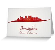 Birmingham AL skyline in red Greeting Card