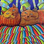 402 - STRIPY CATS  - DAVE EDWARDS - COLOURED PENCILS - 2014 by BLYTHART