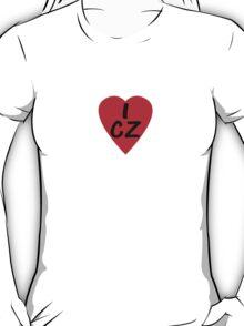 I Love Country Code CZ-Czech Republic T-Shirt & Sticker T-Shirt