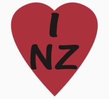 I Love New Zealand - Country Code NZ T-Shirt & Sticker by deanworld