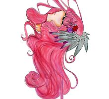 Abstract Pink Hair Design Anime Manga style Traditional Art Work  by Rafey-Chan