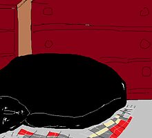 Cat asleep in bedroom -(040214)- Digital artwork/MS Paint by paulramnora