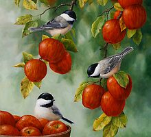 Bird Painting - Apple Harvest Chickadees by csforest