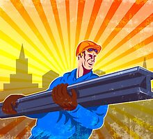 Steel Worker Carry I-Beam Retro Poster by patrimonio