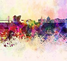 Copenhagen skyline in watercolor background by Pablo Romero