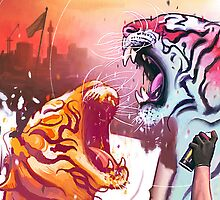 Dueling Tigers Wide Edition by ArtBattles