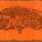 TAUTOG ON SIENNA  THAI UNRYU PAPER by IslandFishPrint