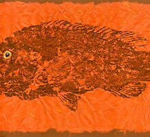 TAUTOG ON SIENNA  THAI UNRYU PAPER by IslandFishPrint