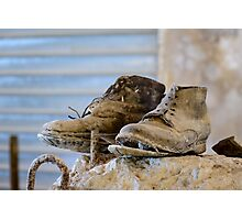 A well worn pair of boots, Bagno Vignoni, Tuscany Photographic Print