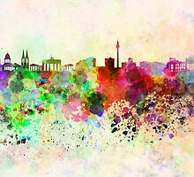 Berlin skyline in watercolor background by paulrommer