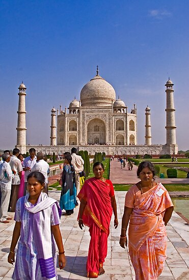Indian fashion in front of Taj Mahal by Konstantinos Arvanitopoulos
