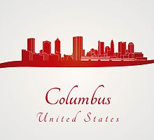 Columbus skyline in red by paulrommer