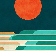 Red moon and chasing waves by Budi Satria Kwan
