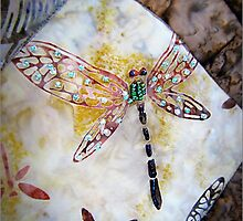 Dragonfly Quilt With Beads by Jean Gregory  Evans