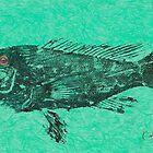 Black Sea Bass on Aegean Green Unryu Paper by IslandFishPrint
