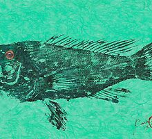 Black Sea Bass on Aegean Green Unryu Paper by IslandFishPrint