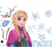 Anna and Olaf-FROZEN Drawing by maddiedrawings