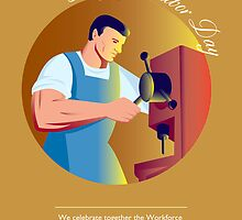 Happy Labor Day Workforce Celebration Retro by patrimonio