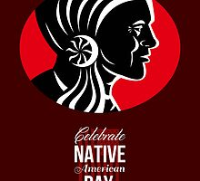 Celebrate Native American Day Retro Poster Card by patrimonio