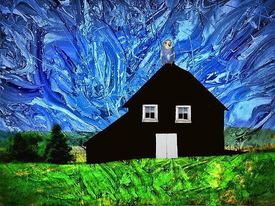 Bird On A Barn by Linda Miller Gesualdo