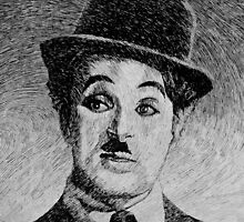 Charlie Chaplin portrait - Fingerprint drawing by nicolasjolly